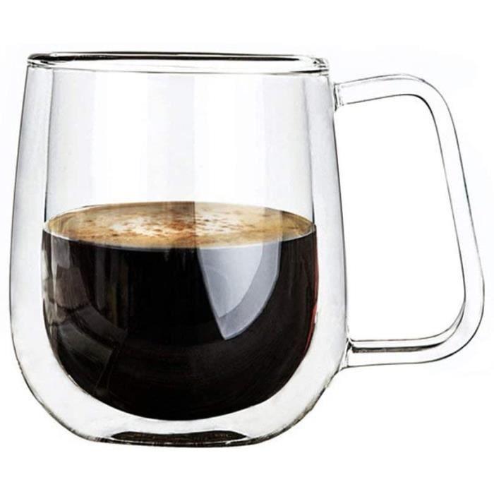 Verres à Double Paroi Espresso 200ML Tasses Thermos en Verre Isotherme Résistant au Chaud, et Froid avec Effet Flottant (Rond)