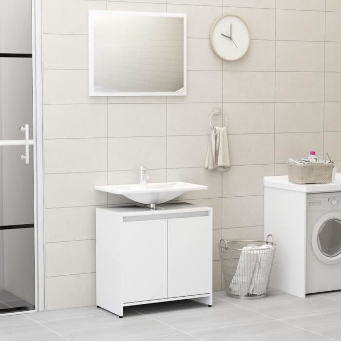 Ensemble de meubles de salle de bain Blanc Aggloméré ✿ 20511