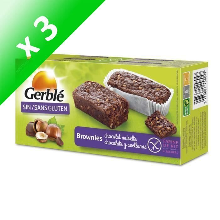 [LOT DE 3] GERBLE Brownie sans gluten - Chocolat noisette - 150g