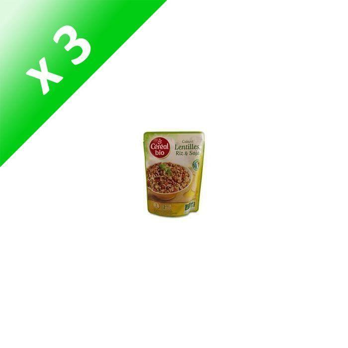 [LOT DE 3] Lentilles, riz et soja bio 250 g Cereal Bio