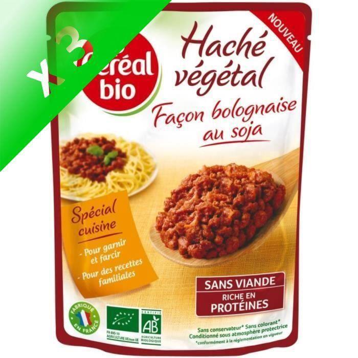 [LOT DE 3] Haché végétal bolognaise au soja 250 g Cereal Bio