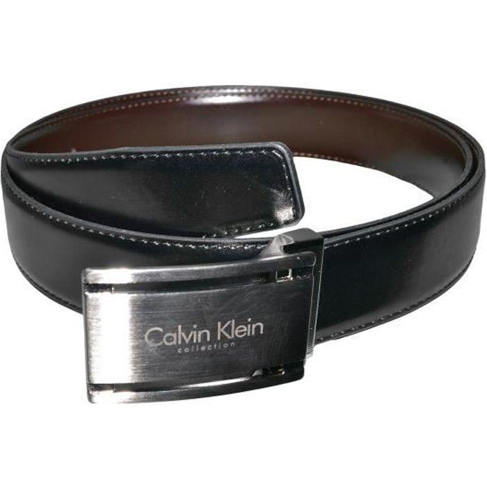 Calvin Klein - Ceinture - D22 - Homme - Cuir - Noir Marron - Taille Unique