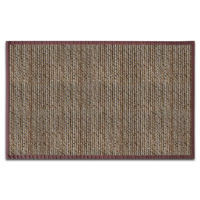 Tapis en Fibre Naturelle - Tapis 100% Bambou - 70x120 cm - Marron