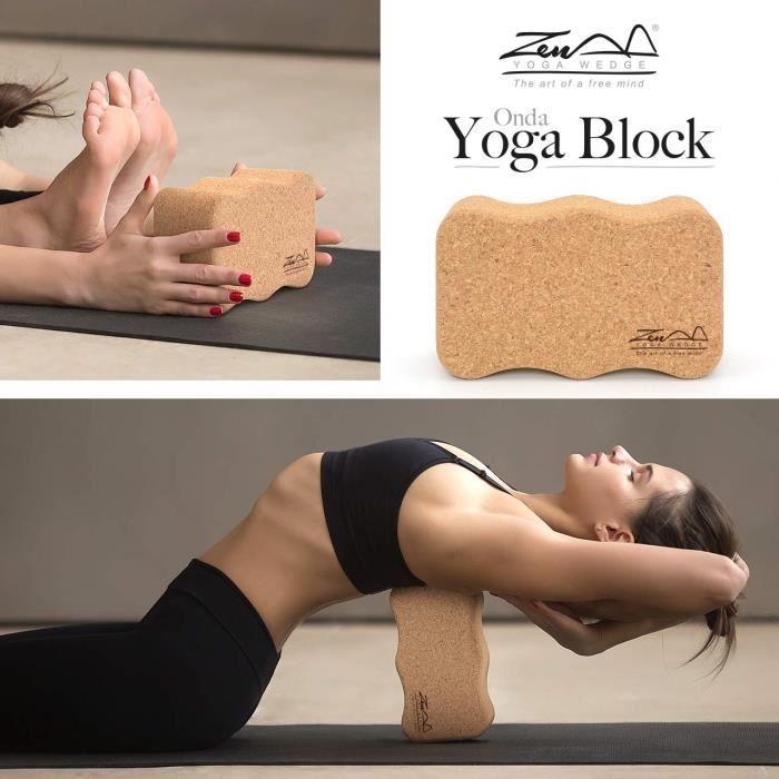 ZenYogaWedge Bloc de Yoga en liège 100% Naturel pour débutants et Professionnels Yoga Pilates Classes à la Maison Exercice Fitness