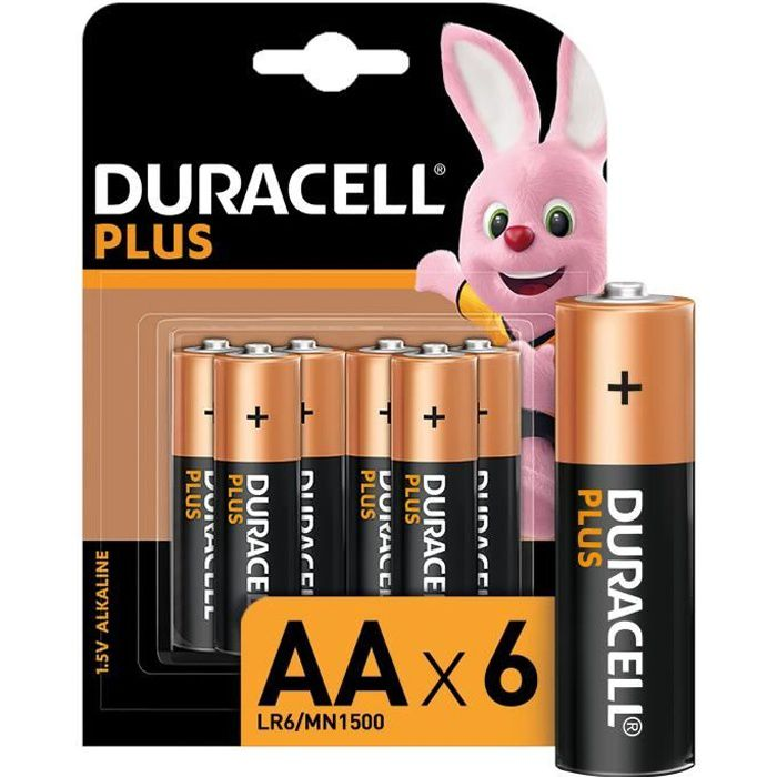 Duracell: 6 piles Alcalines PLUS type AA/ LR06
