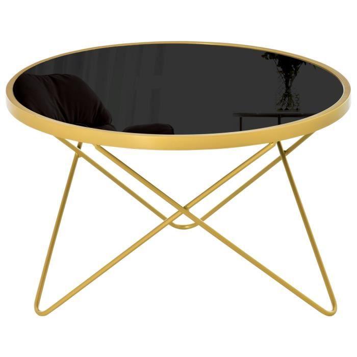 Table basse ronde design style art déco Ø 65 x 40H cm plateau verre trempé noir châssis acier doré 65x65x40cm Noir