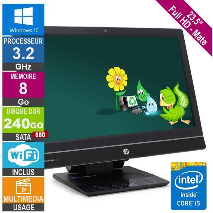 PC Tout-en-un 23- HP 800 G1 Core i5 3.20GHz 8Go/240Go SSD Wifi W10