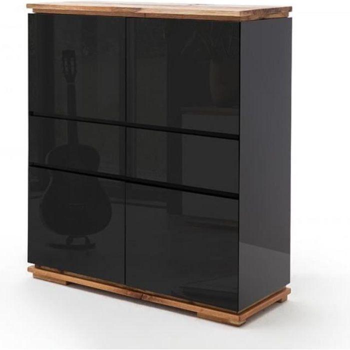 Buffet haut CHARLY 4 portes 2 tiroirs laqué noir brillant socle et plateau chêne noueux huilé noir Bois Inside75