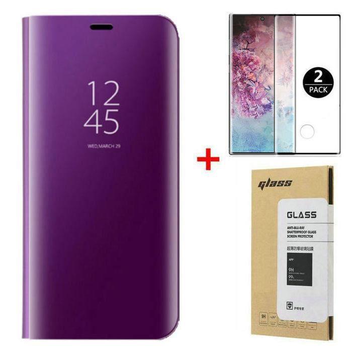 Coque Samsung Galaxy Note 20 Ultra et [2 Pack] Verre trempé 3D Déverrouillage d'empreintes digitales, Miroir Flip Case Housse Étui