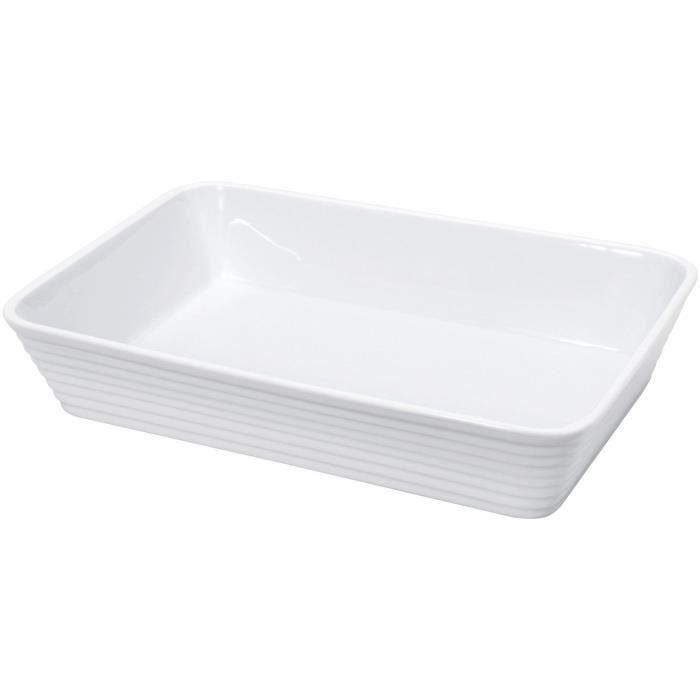 KUCHENPROFI Plat rectangulaire en porcelaine - 30x21x6 cm - Blanc