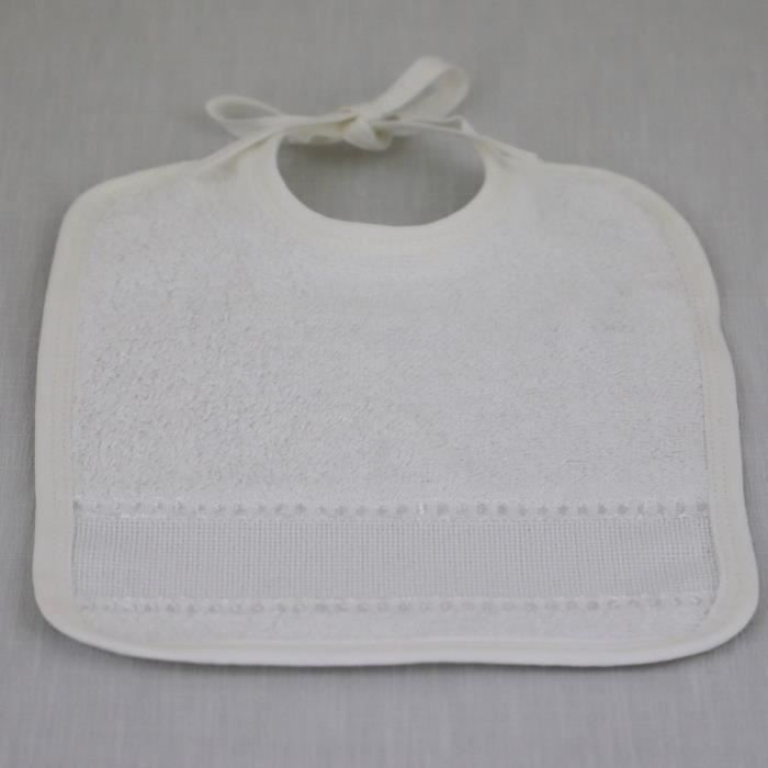 LINANDELLE - Bavoir uni en coton fermeture à liens et bande à broder AIDA - Blanc