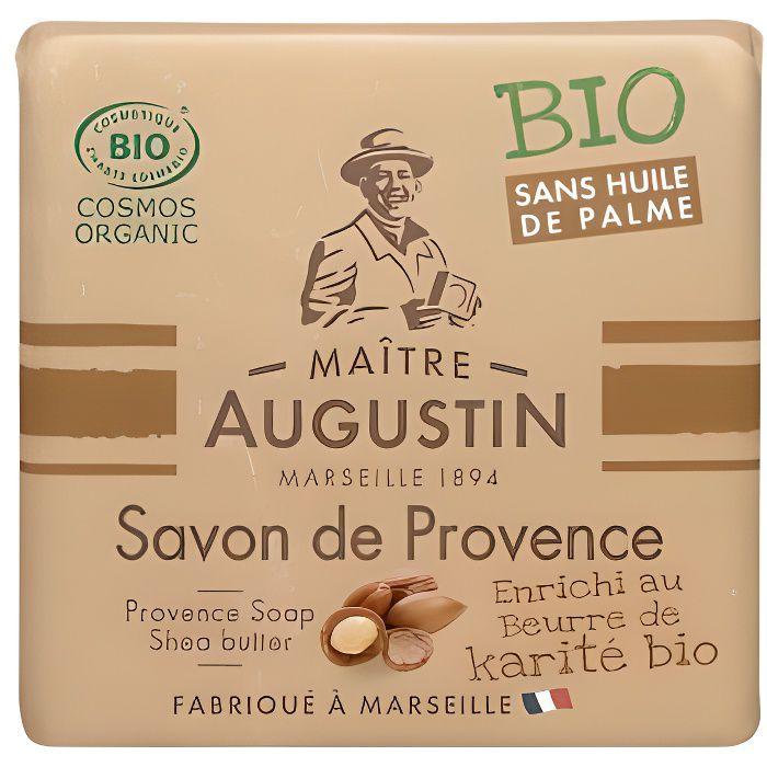 Le savon de Provence Bio Karité MAITRE AUGUSTIN enrichi en beurre de karité nettoie votre peau tout en douceur.