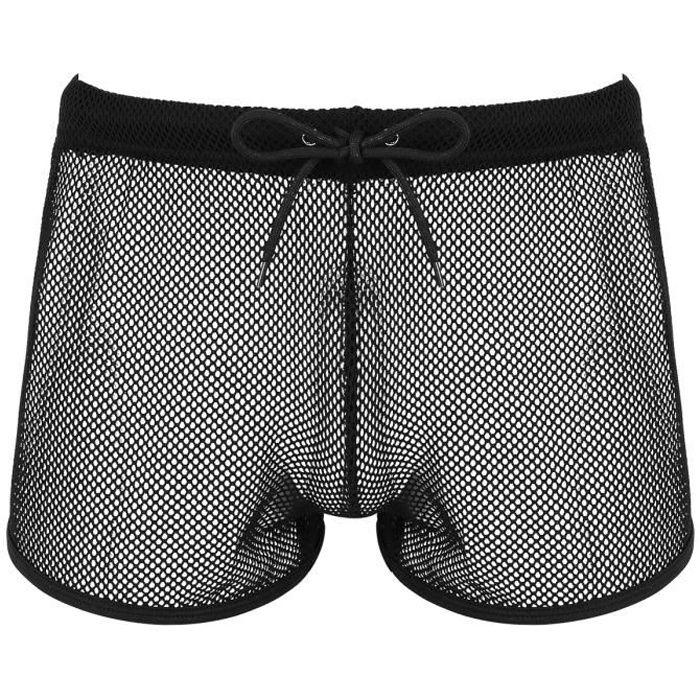 Short Homme Sexy Transparent Boxer Résille Trunks Sous-vêtement Calecon Bas de Pyjama M-XXL Noir