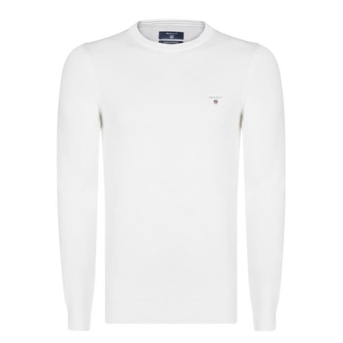 Gant Homme Pull Blanc Col Rond