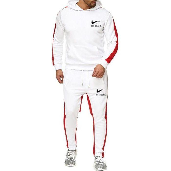 OUQING-Ensemble de survêtement marque homme impression deux pièces Épissage Pantalon de gymnastique Épaissir mode de veste à capuch