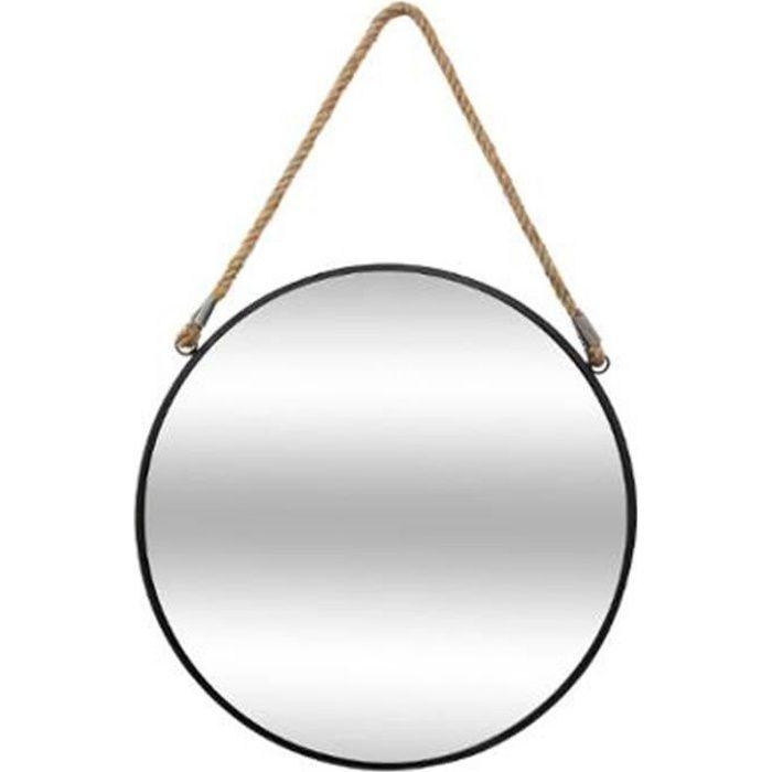 Miroir Rond en Métal -Corde- 55cm Noir