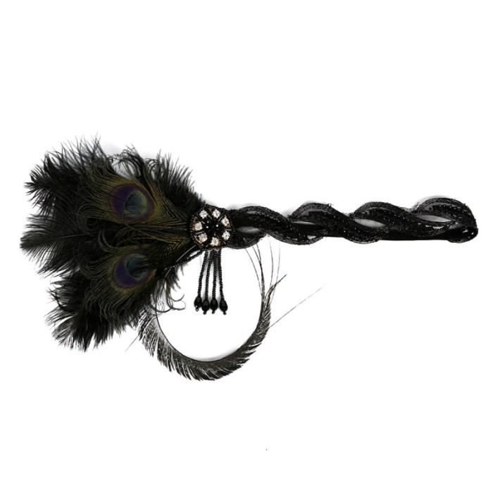 1 pc bandeau strass plume élastique Vintage accessoire coiffure pour Cosplay BANDEAU - SERRE-TETE - HEADBAND - HAIRBAND