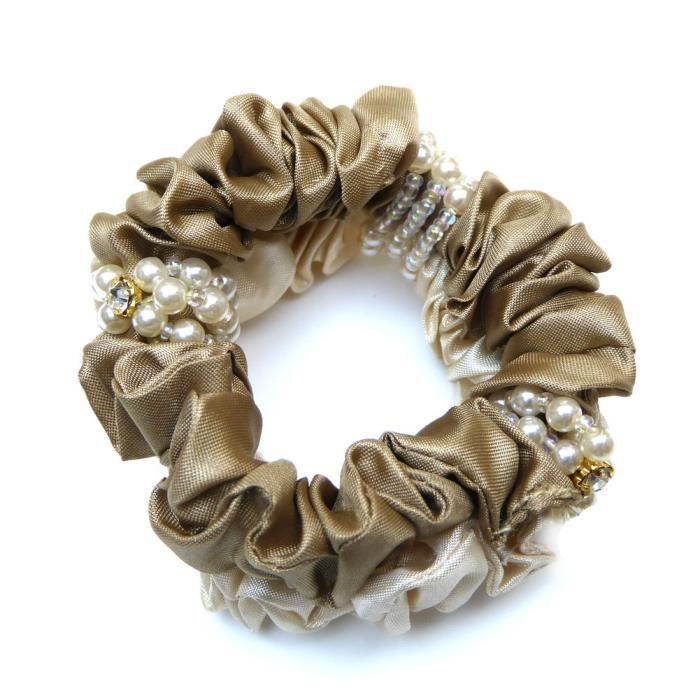 Elastique chouchou cheveux tissu et perles beige - RC004705D
