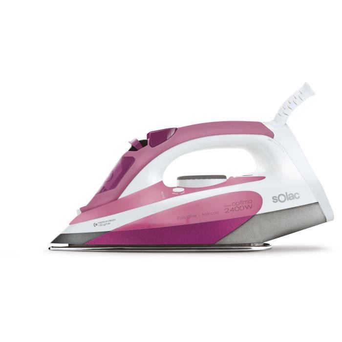 SOLAC New Optima 2400 -PV2006 Fer vapeur - 2400 W - Semelle céramique - Rose et blanc
