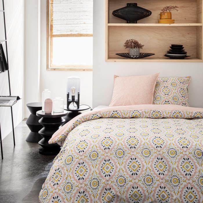 TODAY Parure de couette 100 % Coton 220x240cm SUNSHINE #3.29 - Rose et jaune