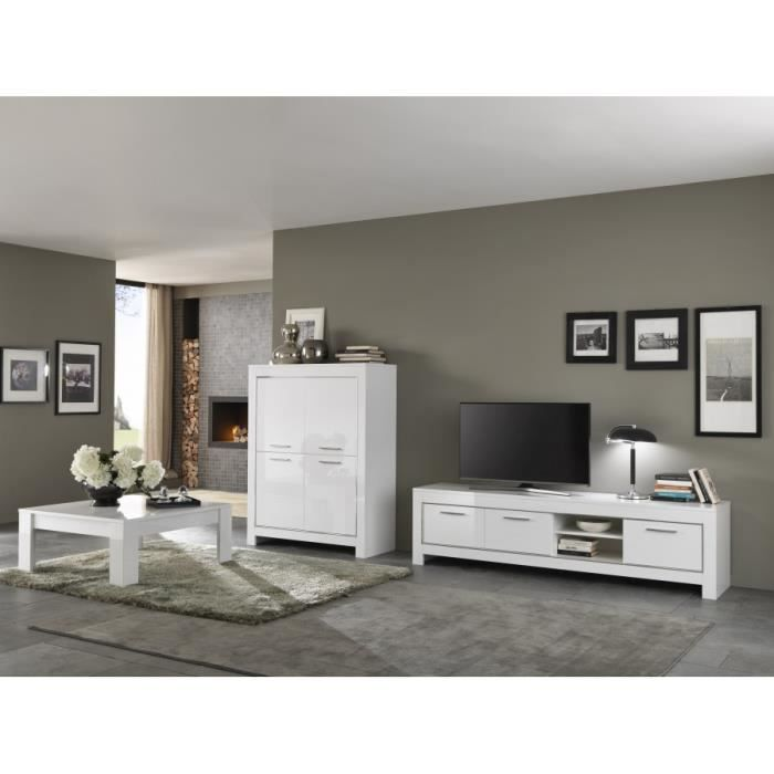 ensemble laqu blanc modena meuble tv 207 bar table basse carr e achat vente meuble tv. Black Bedroom Furniture Sets. Home Design Ideas