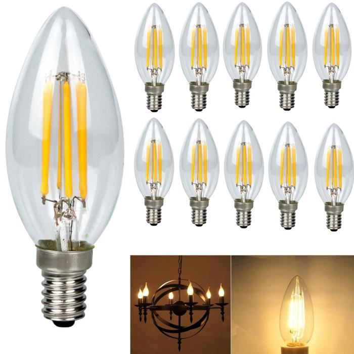 10x e14 forme bougie led 4w filament ampoule led lampe cob. Black Bedroom Furniture Sets. Home Design Ideas