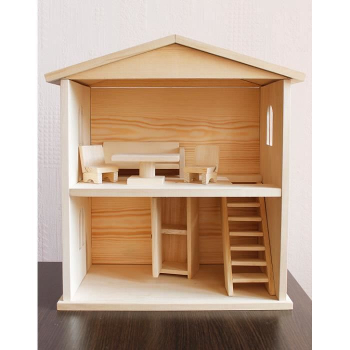 maison de poup e en bois maison de poup e en bois enfant jouets en bois achat vente maison. Black Bedroom Furniture Sets. Home Design Ideas