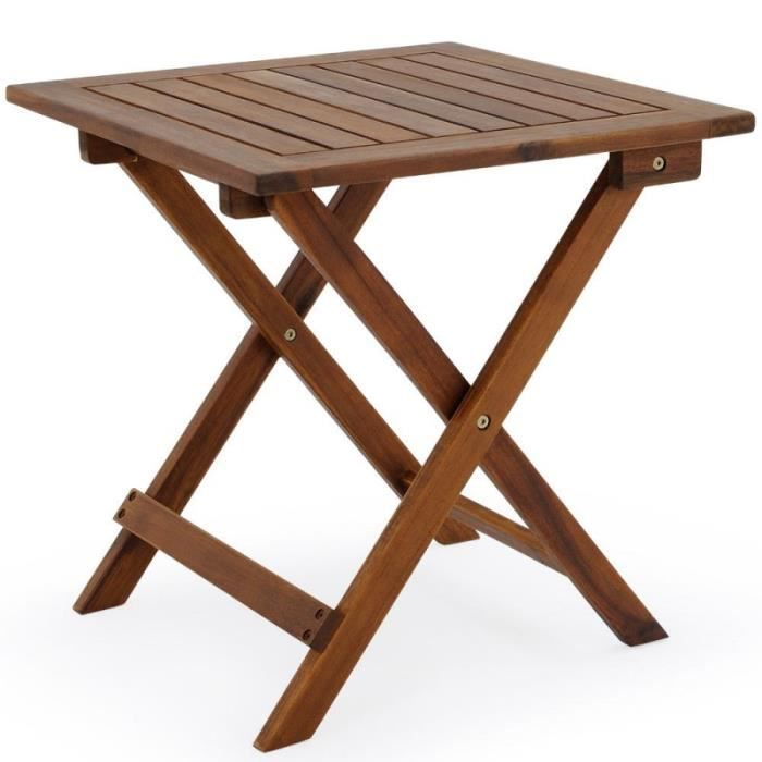 Table Basse Pliante En Bois 46x46cm Pliable Achat Vente Table Basse Jardin Table Basse