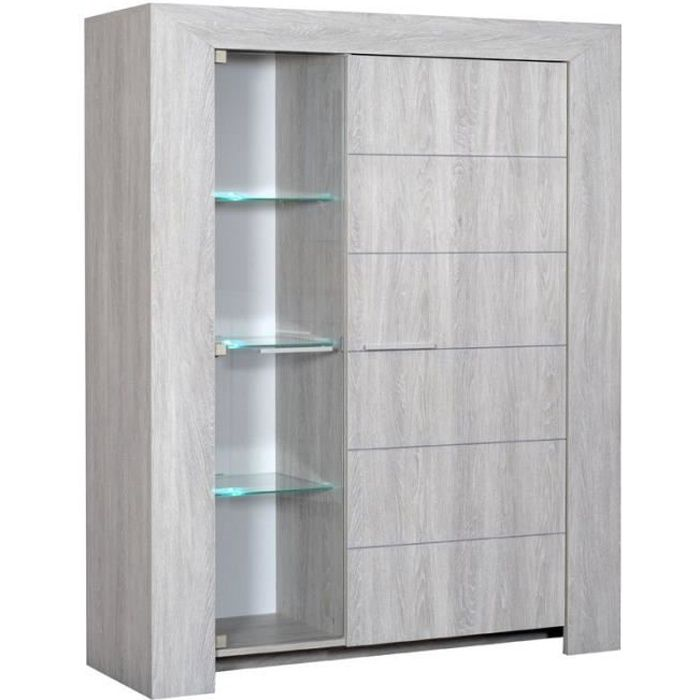armoire vitrine de salon gris clair tahiti achat vente vitrine argentier armoire vitrine. Black Bedroom Furniture Sets. Home Design Ideas