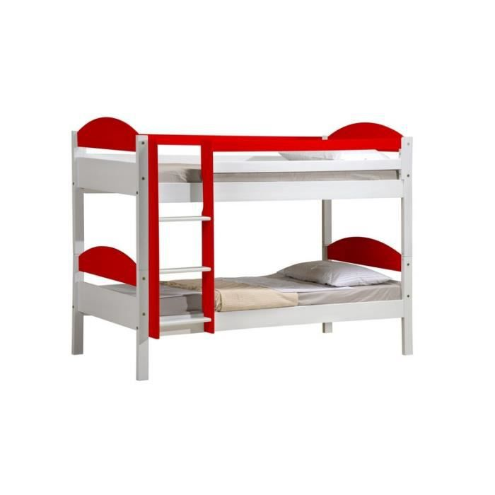 Lit superpos pin massif blanc rouge 39 evolutia 39 achat vente lits - Lit superpose pin massif ...