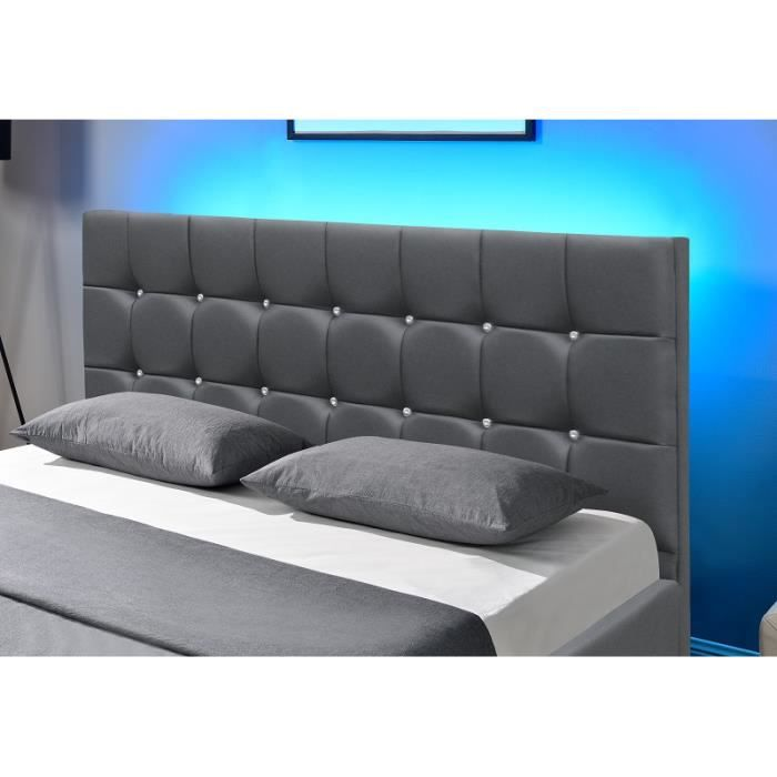 shiny lit coffre p u gris led 140x190 cm achat vente structure de lit shiny lit coffre p. Black Bedroom Furniture Sets. Home Design Ideas