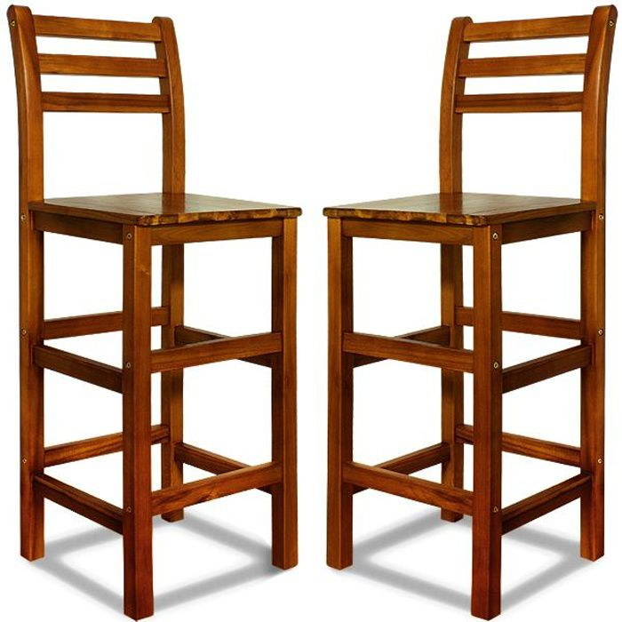 2x tabouret haut en bois acacia bar 110x40x36cm achat. Black Bedroom Furniture Sets. Home Design Ideas