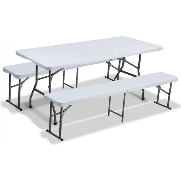 SET DE JARDIN EN PLASTIQUE -2x BANC+TABLE-PLIABLE