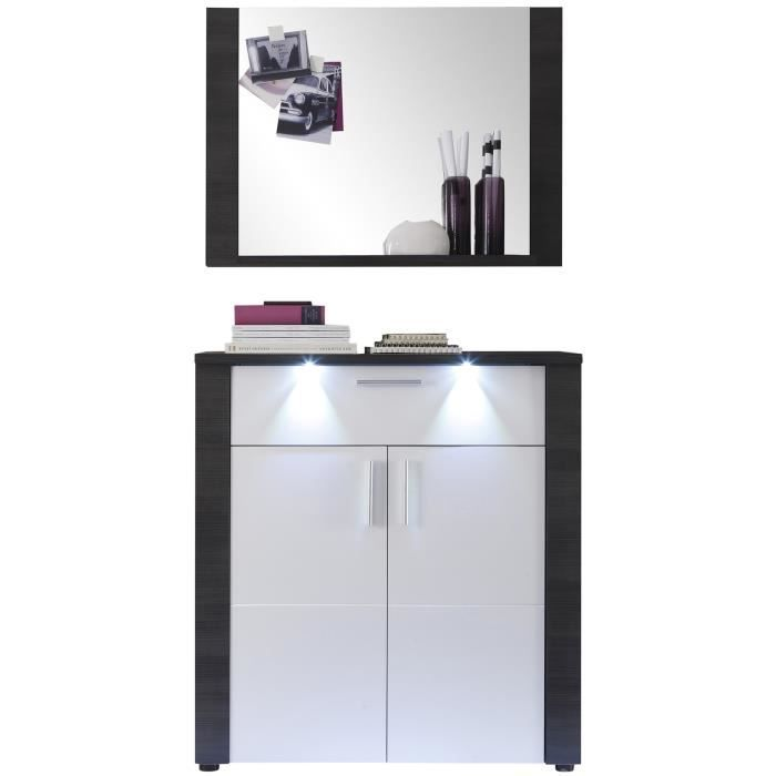 meuble chaussures miroir pour hall d 39 entr e coloris fr ne gris et blanc achat vente. Black Bedroom Furniture Sets. Home Design Ideas