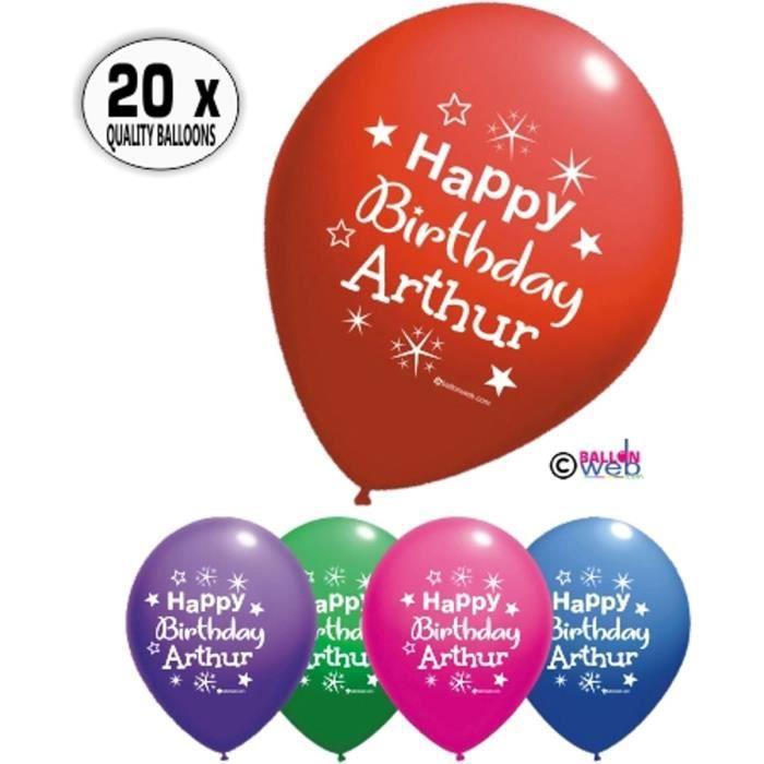 20 X Ballons Happy Birthday Arthur Joyeux Anniversaire O 33 Cm Qualite Pro Achat Vente Ballon Decoratif Cdiscount