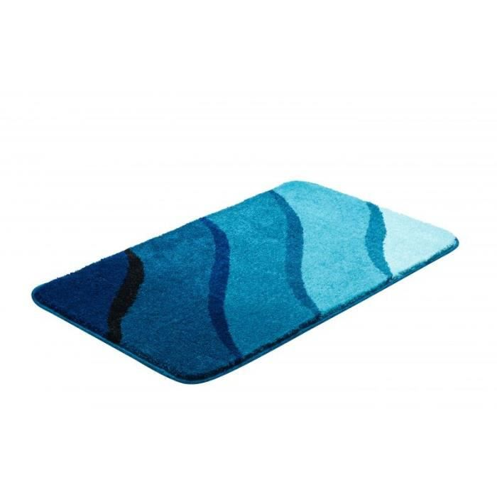 tapis de salle bain 60 x 100 cm design couleur bleu. Black Bedroom Furniture Sets. Home Design Ideas