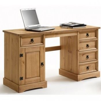 bureau en pin cir avec 5 tiroirs et 1 portes achat vente bureau bureau en pin pin cdiscount. Black Bedroom Furniture Sets. Home Design Ideas