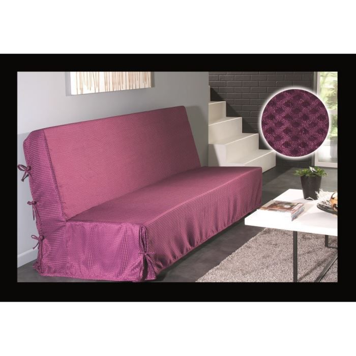 housse de clic clac nouettes violet effet satin achat vente housse de canape cdiscount. Black Bedroom Furniture Sets. Home Design Ideas