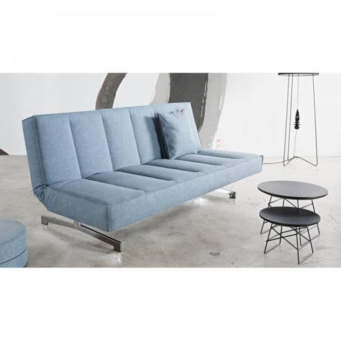 Odin canap design bleu convertible lit 120 200 achat for Canape lit design