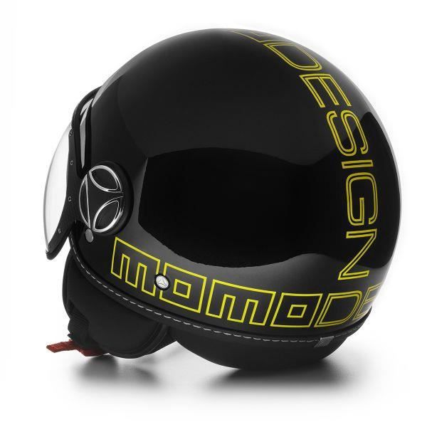 casque momo design fighter noir brillant jaune achat vente casque moto scooter momo design. Black Bedroom Furniture Sets. Home Design Ideas