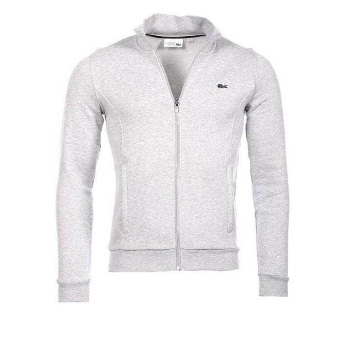 GILET - CARDIGAN Lacoste Homme - Veste gilet zippé gris argent chin
