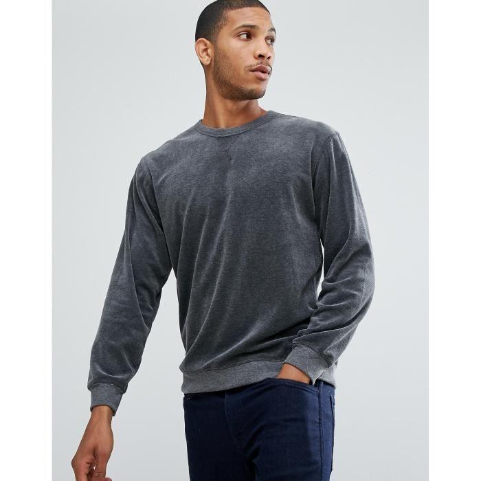 selected homme+ sweatshirt in velour jersey