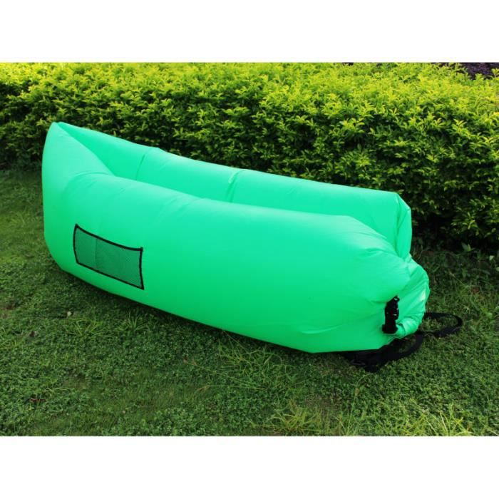 air bag gonflable hamac chaise hangout canap lit canap dormir camping plage vert prix pas. Black Bedroom Furniture Sets. Home Design Ideas