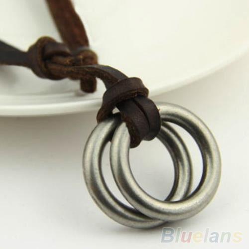 collier homme cuir anneau