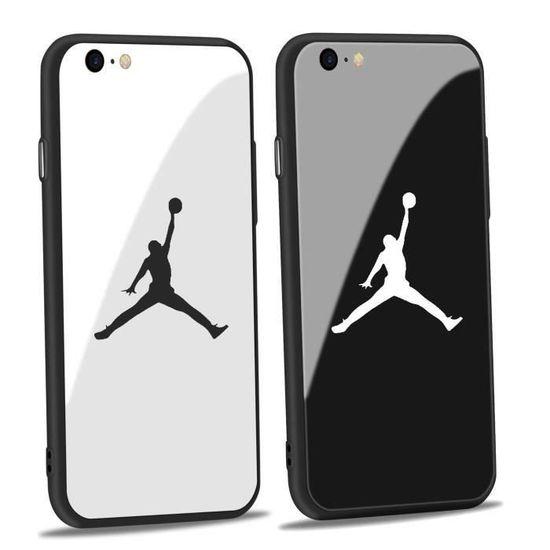 Coque iPhone 7 Plus-8 Plus,Jordan Blanc Verre Coque Bumper Housse ...