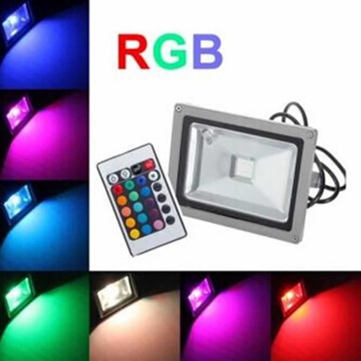 20w led projecteur rgb couleur exterieur ip65 etanche 220v jardin achat vente projecteur. Black Bedroom Furniture Sets. Home Design Ideas