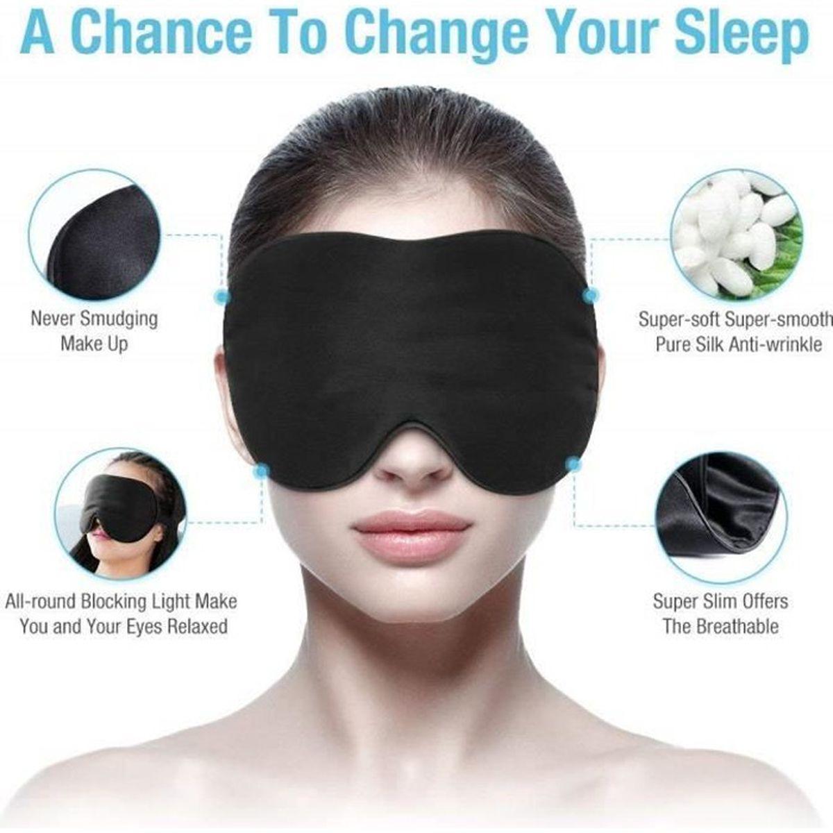 Masque de sommeil lot de 2 masques pour les yeux doux pour la peau tissu de soie naturelle et masque de sommeil en pur coton rempli avec bouchon doreille et sangle confortable r/églable