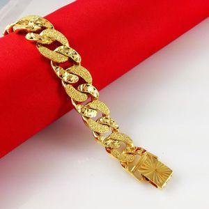 BRACELET - GOURMETTE Bracelet épais Bijoux hommes Or jaune 18k plaqué M