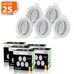 SPOTS - LIGNE DE SPOTS LOT DE 25 SPOT LED ENCASTRABLE COMPLETE ORIENTABLE