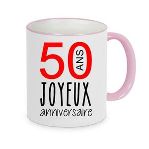 BOL - MUG - MAZAGRAN mug - Céramique - Rose LMK JOYEUX ANNIVERSAIRE 50